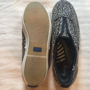 9.5 Keds animal print slip ons- no laces needed